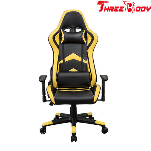 Player Seat Race Car Office Chair , Comfortable Bucket Seat Office Chair Black And Yellow
