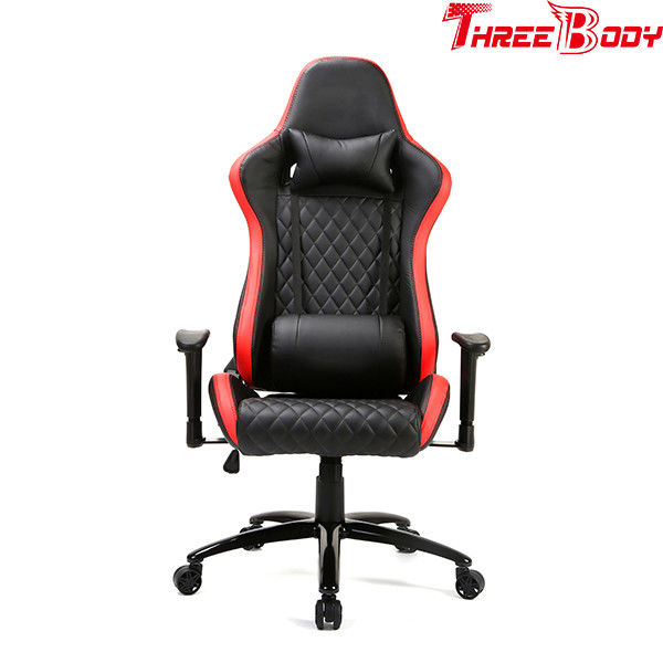 Durable High Back Gaming Chair Adjustable Armrests PU Leather Fire - Retardant