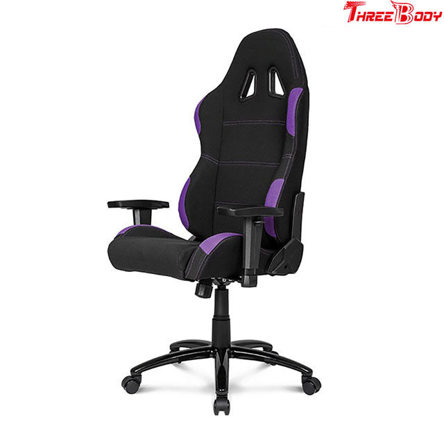 Breathable  High Back Leather Gaming Chair Black And Purple Adjustable Armrests