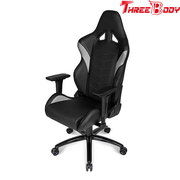 Black And Gray Leather Gaming Chair 360 Degree Swivel Rotation Fire    Retardant
