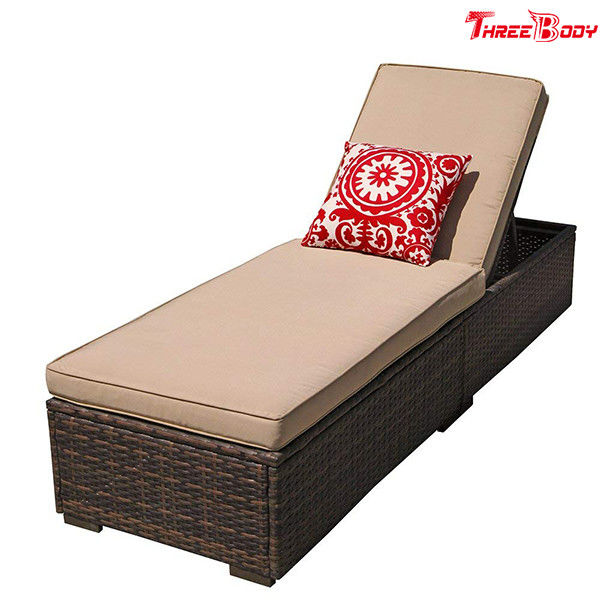 Patio Chaise Outdoor Lounge Sofa Adjustable Hight With Cushion Espresso Brown