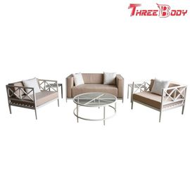 China 4 Seater Outside Table And Chairs  , White Frame Aluminum Sofa Set For Patio Hotel factory
