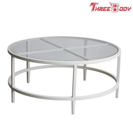 Commercial Outdoor Garden Furniture White Metal Outdoor Coffee Table / Small Patio Side Table