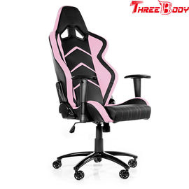 China Black And Pink Racing Gaming Chair With Adjustable Neckrest And Lumbar Support factory