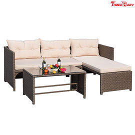 3 Pieces Rattan Sectional Outdoor Lounge Sofa Sets Clearance UV Resistant