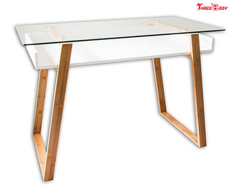 China Glass Top Modern Office Table Computer Home Office Desk 46 X 24 X 6.8 Inches factory