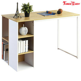China Light Brown / White Modern Office Table 5 Side Shelves PC Laptop Notebook Desk Metal Legs factory