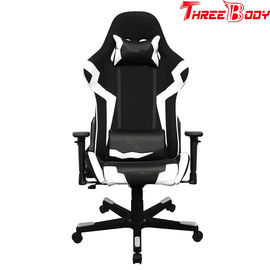 Ergonomic High Back Racing Gaming Chair Adjustable Height Swivel Black And White