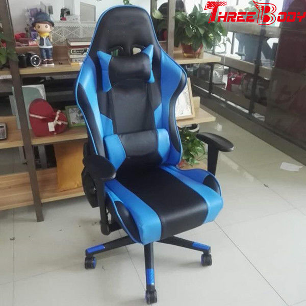 Ergonomic Racing Seat Gaming Chair Black And Blue Lumbar